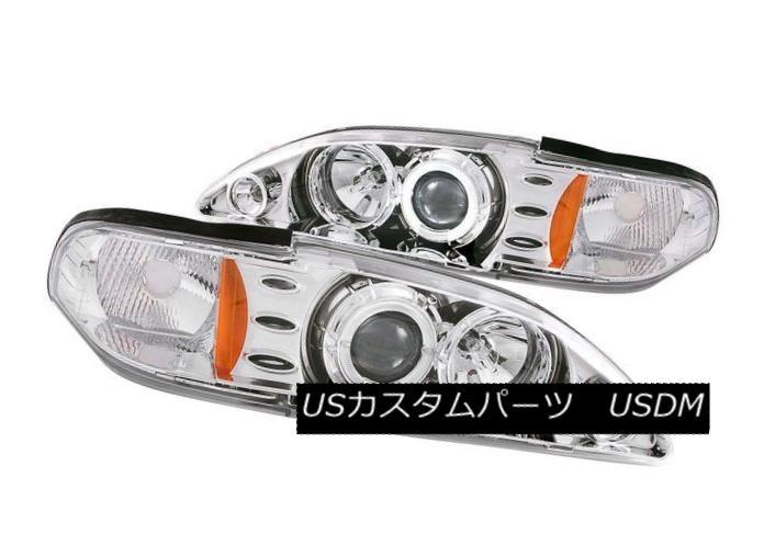 ヘッドライト ANZO 121039 Set of 2 Chrome Halo Projector Headlights for 94-98 Ford Mustang ANZO 121039 94-98 Ford Mustang用クロームハロープロジェクターヘッドライトセット
