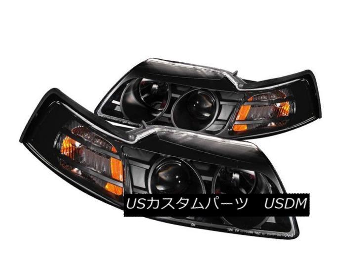 ヘッドライト ANZO 121042 Set of 2 Black Projector Headlights for 99-04 Ford Mustang ANZO 121042 99-04 Ford Mustangのための2台の黒プロジェクターヘッドライトのセット