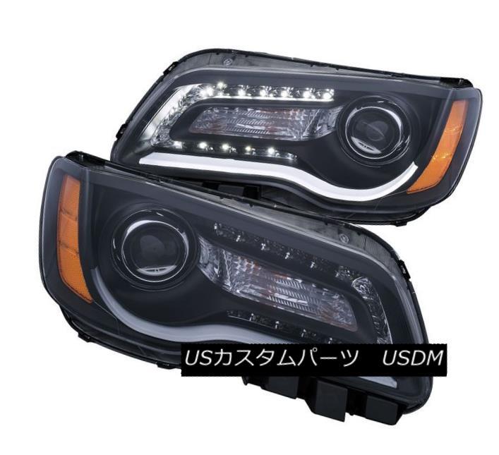ヘッドライト Anzo 121495 Set of 2 Black Plank Style Projector Headlights for Chrysler 300 Anzo 121495クライスラー300用の黒い板状のプロジェクターヘッドライト2セット