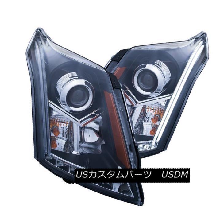 ヘッドライト Anzo 111308 Set of 2 Black Plank Style Projector Headlights for Cadillac SRX Anzo 111308 Cadillac SRX用ブラックプランクスタイルプロジェクタヘッドライト2セット