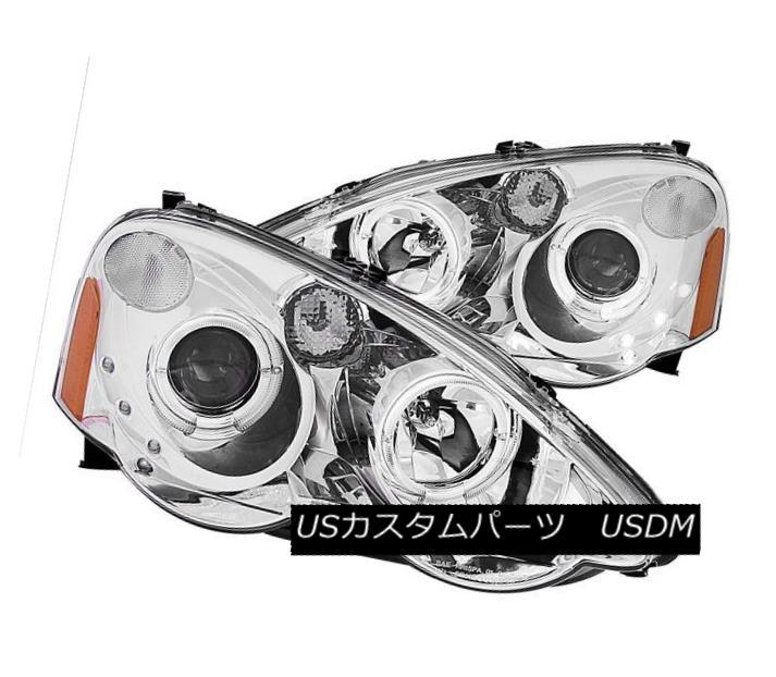 ヘッドライト ANZO 121360 Set of 2 Chrome Halo Projector Headlights for 2002-2004 Acura RSX ANZO 121360 2002年?2004年のクロームハロープロジェクターヘッドライトセットAcura RSX