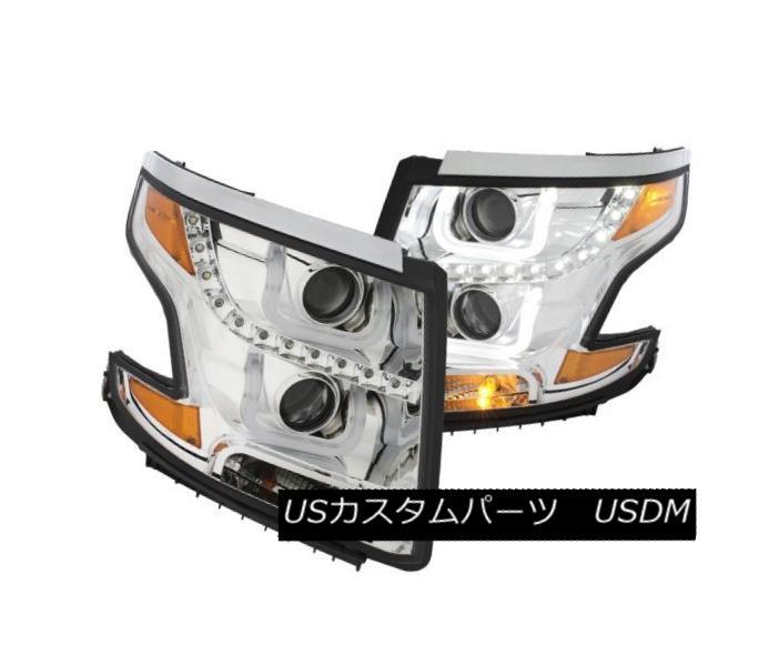 ヘッドライト Anzo 111341 Pair of U-Bar Style Chrome Projector Headlights for Tahoe/Suburban Anzo 111341タホ/郊外用U字型クロームプロジェクタヘッドライトのペア
