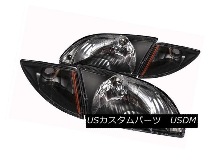 ヘッドライト ANZO 121019 Set of 2 Black Crystal Headlights w/Corner Lights for 00-02 Cavalier ANZO 121019 2本の黒いクリスタルヘッドライト(コーナーライト付)(00-02キャバリア用)