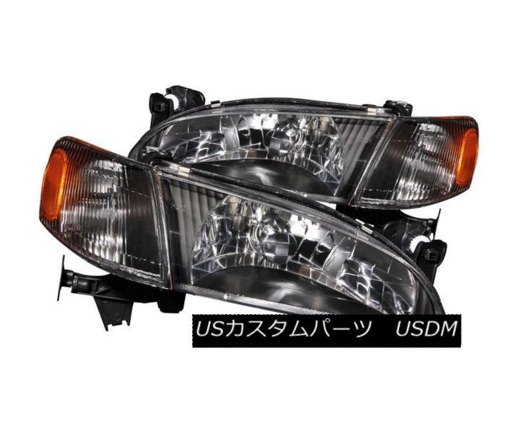 ヘッドライト ANZO 121131 Set of 2 Black Crystal Headlights w/Corner Lights for 98-00 Corolla ANZO 121131 98-00 Corolla用コーナーライト付2色ブラッククリスタルヘッドライトセット
