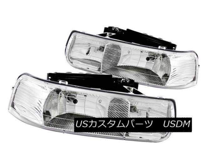 ヘッドライト ANZO 111011 Set of 2 Chrome Crystal Headlights for Silverado/Suburban/Tahoe ANZO 111011 Silverado / Subu  rban / Tahoe用クロームクリスタルヘッドライト2個セット