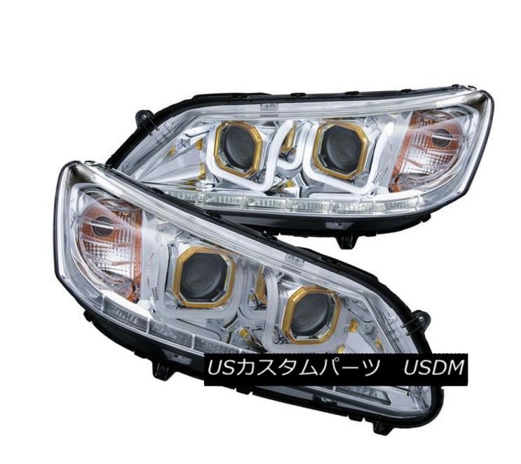 ヘッドライト Anzo 121493 Set of 2 Chrome U-Bar Style Projector Headlights for Honda Accord Anzo 121493ホンダアコード用クロームUバースタイルプロジェクターヘッドライトセット