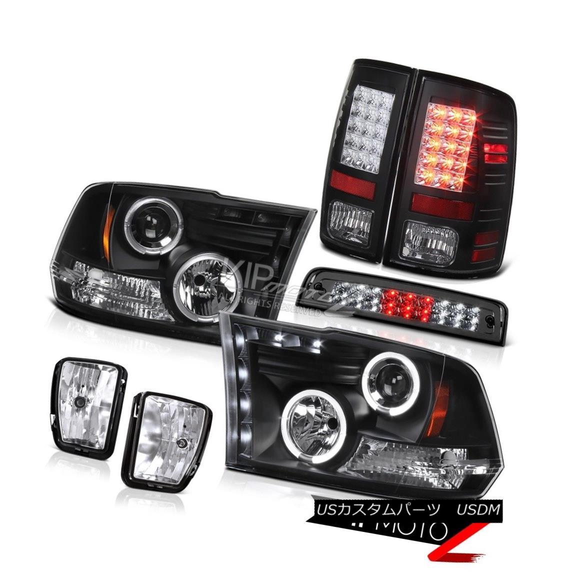 ヘッドライト 13-18 Dodge Ram 1500 Laramie 3RD Brake Lamp Fog Lights Tail Headlights Dual Halo 13-18ダッジラム1500ララミー3RDブレーキランプフォグライトテールヘッドライトデュアルヘイロー