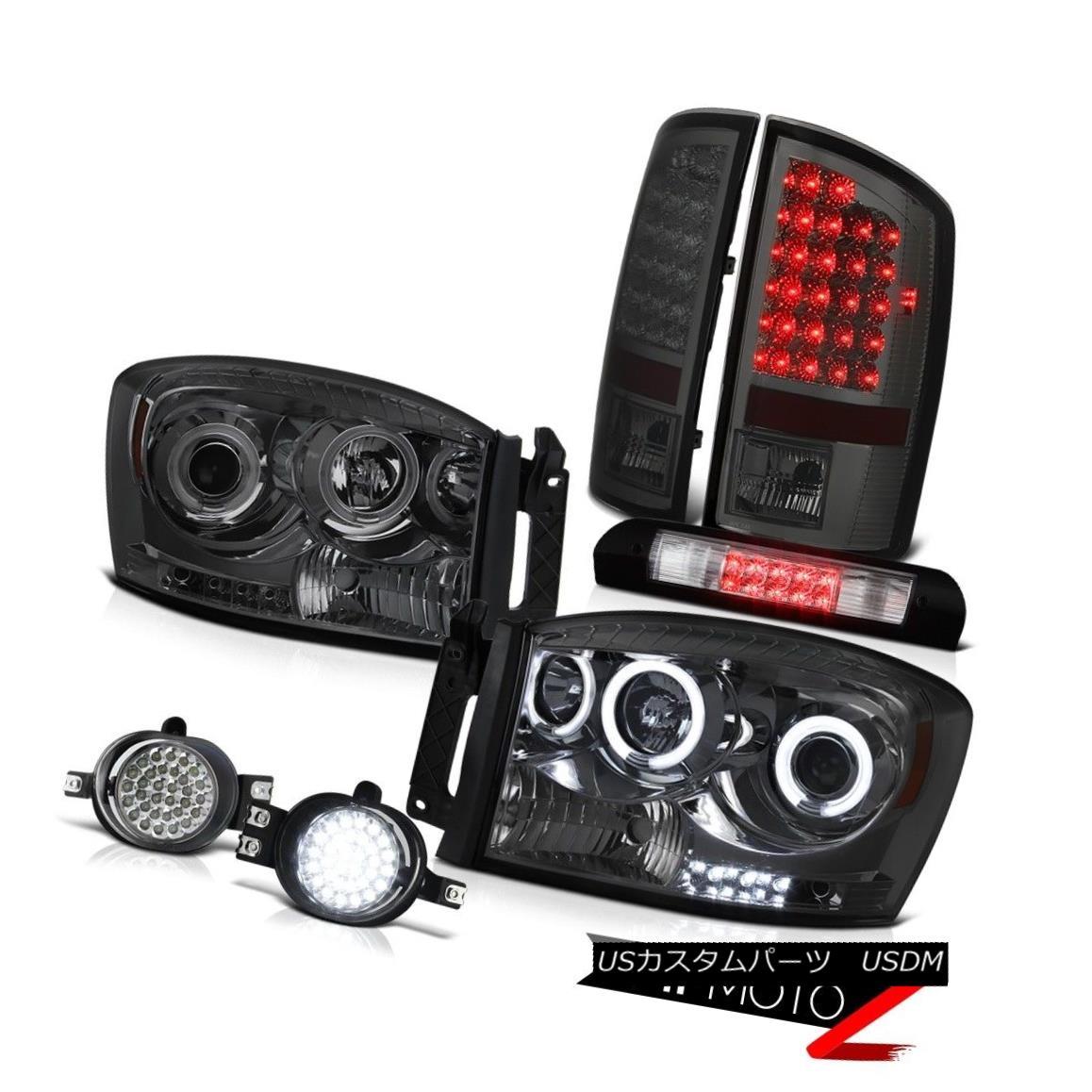 ヘッドライト 07 08 Ram SLT CCFL Fluorescence Headlights Smoke Tail Lights LED Fog Third Brake 07 08 Ram SLT CCFL蛍光灯ヘッドライトスモークテールライトLEDフォグ第3ブレーキ