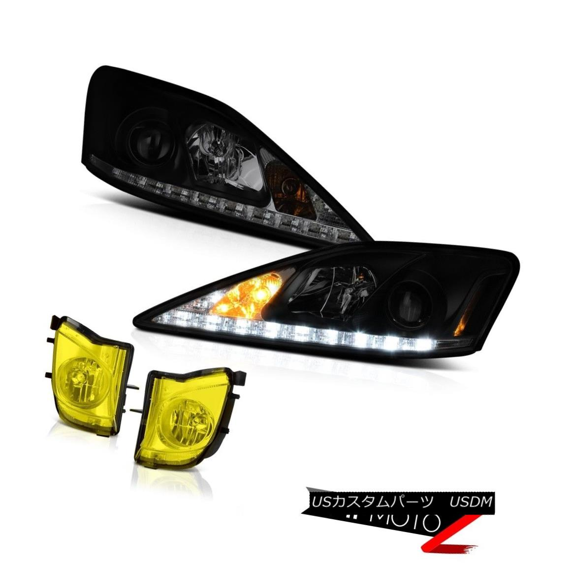 ヘッドライト JDM Golden Yellow Bumper Foglights SINISTER BLACK LED STRIP Projector Headlights JDMゴールデンイエローバンパーフォグライトSINISTER BLACK LED STRIPプロジェクターヘッドライト