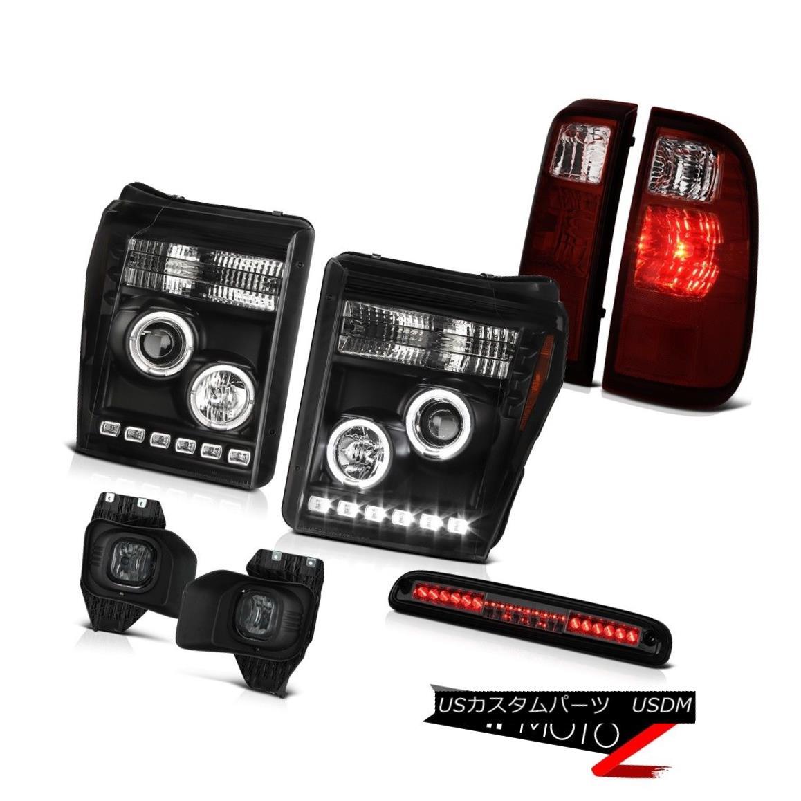 ヘッドライト 11-16 F350 Xl Smokey Roof Brake Lamp Foglights Tail Lamps Raven Black Headlamps 11-16 F350 X1スモーキールーフブレーキランプフォグライトテールランプブラックレッドヘッドランプ