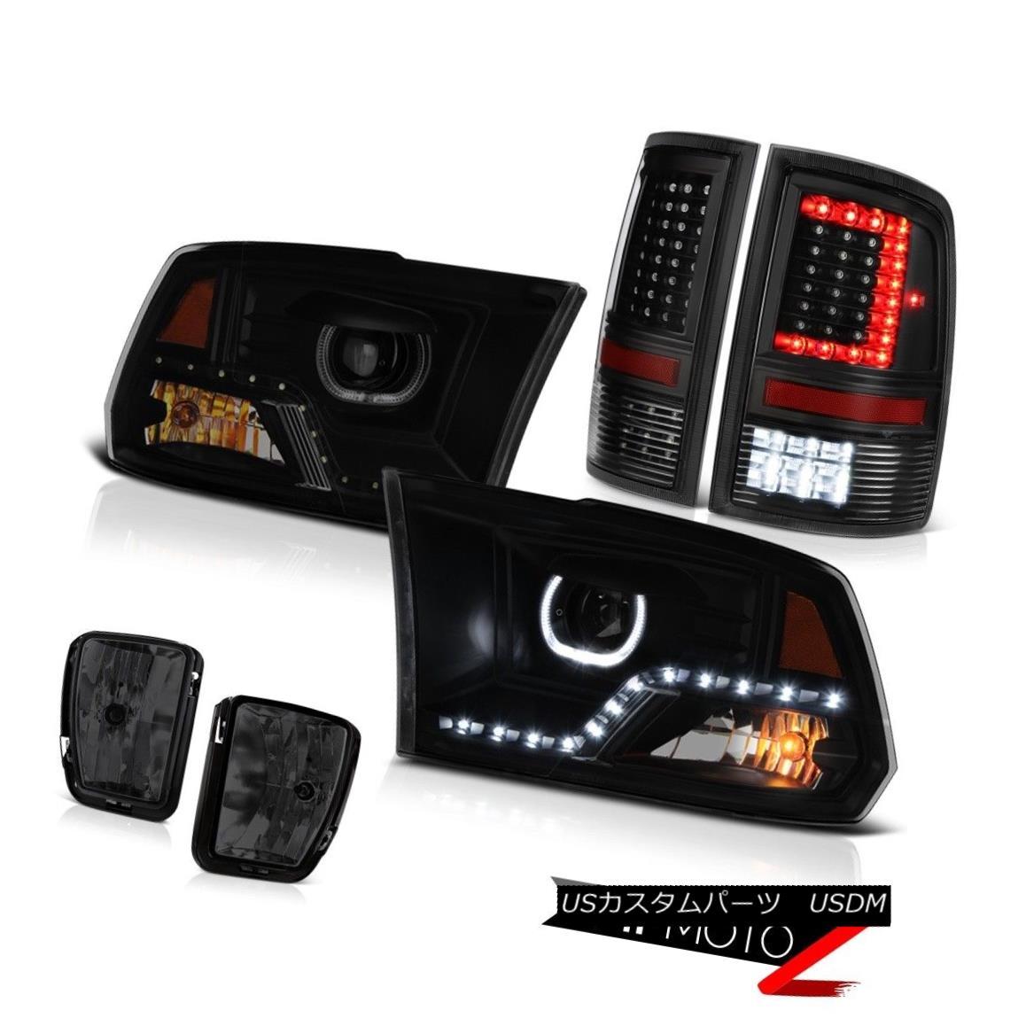ヘッドライト 13-18 Dodge RAM 1500 Raven Black Led Tail Lights Head Lamp Smokey Driving SET 13-18 Dodge RAM 1500 Raven Black LedテールライトヘッドランプSmokey Driving SET
