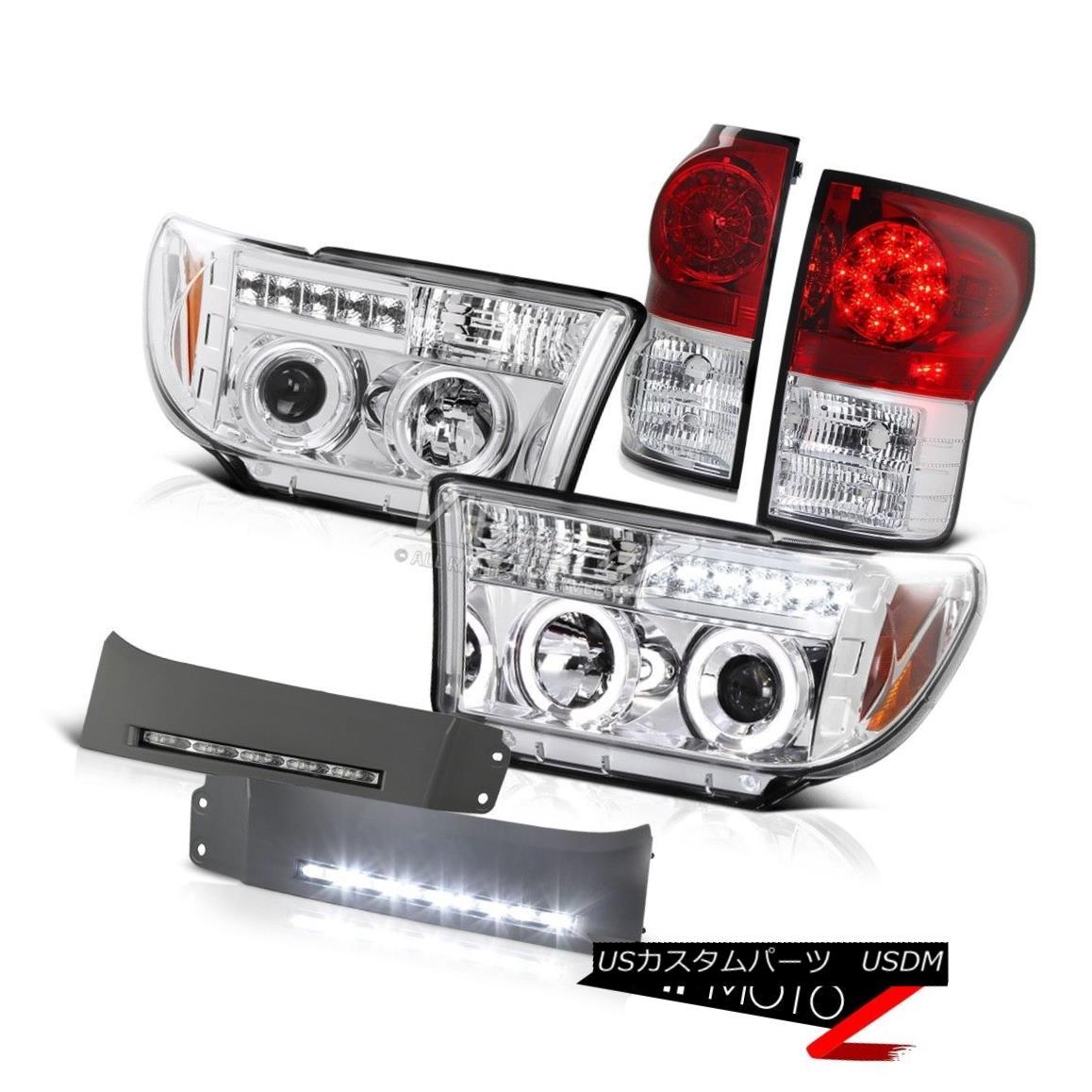 ヘッドライト 2007-2013 Tundra PickUp Red LED Tail Light Angel Eye Headlight LED DRL Fog Light 2007年?2013年Tundra PickUpレッドLEDテールライトエンジェルアイヘッドライトLED DRLフォグライト