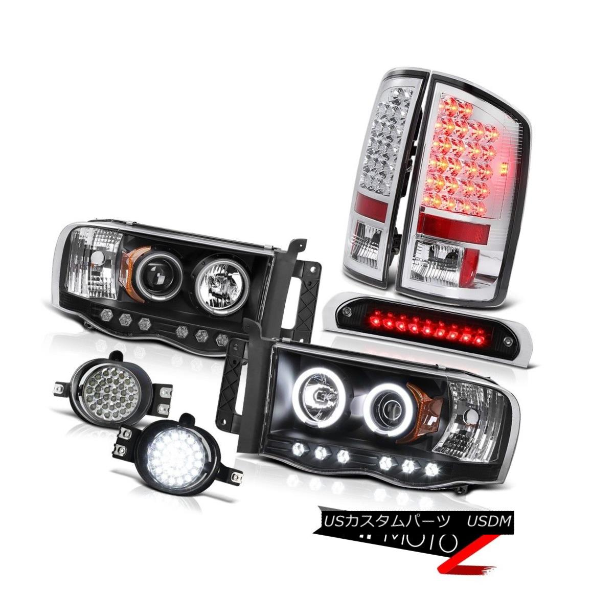 ヘッドライト 02-05 Ram V6 Angel Eye CCFL Headlamps Euro LED Tail Lights Foglights Brake Cargo 02-05 Ram V6エンジェルアイCCFLヘッドランプユーロLEDテールライトフォグライトブレーキカーゴ