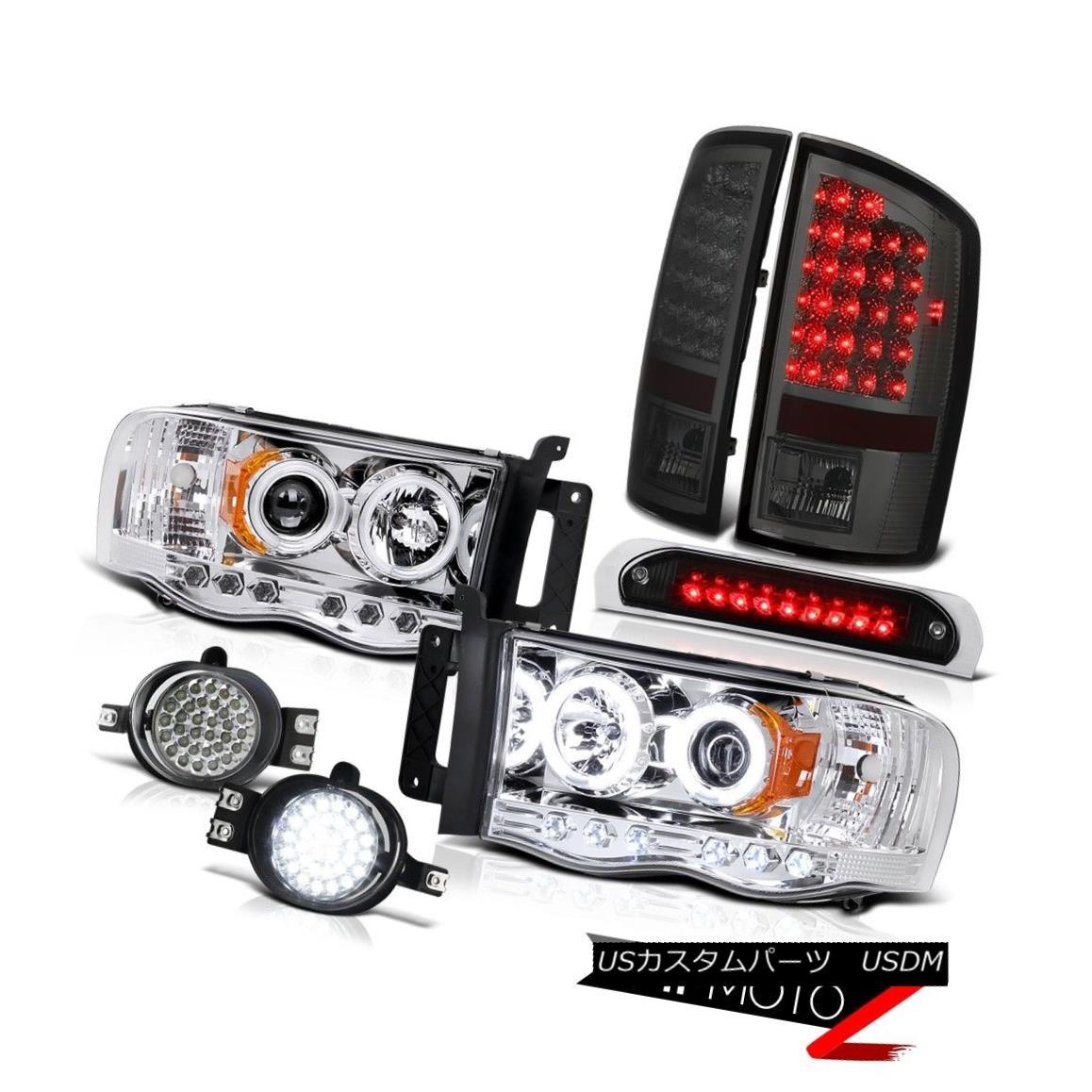 ヘッドライト Euro CCFL Headlights Halo Tail Light LED Trim Fog Black Brake 2002-2005 Ram 3500 ユーロCCFLヘッドライトハローテールライトLEDトリムフォグブラックブレーキ2002-2005 Ram 3500