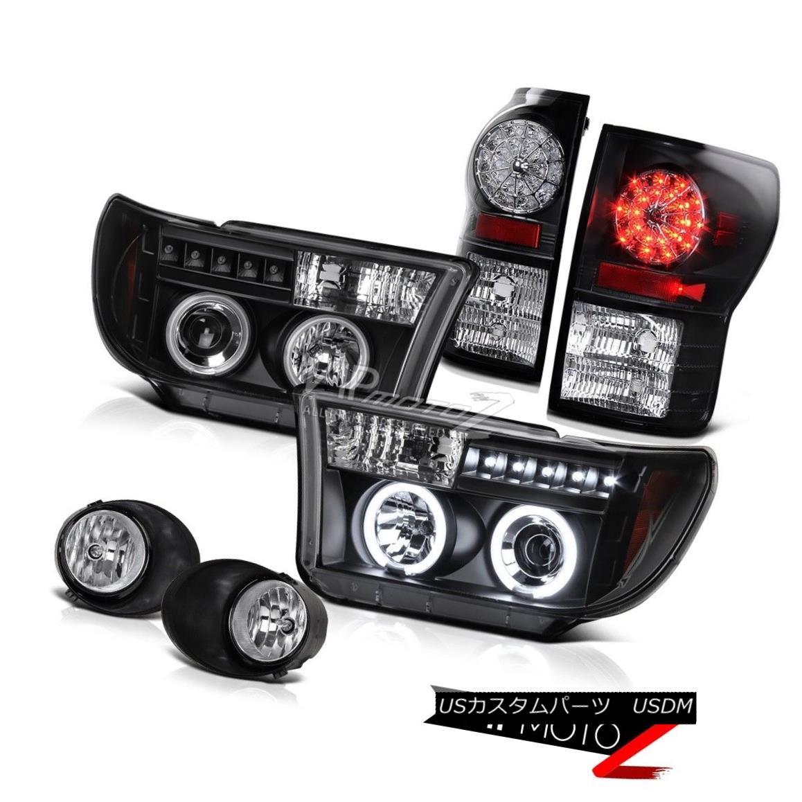 ヘッドライト 07-2013 Tundra TRD CCFL Halo Projector Headlight+Black Led Tail Light+Fog Lamp 07-2013 Tundra TRD CCFLハロープロジェクターヘッドライト+ Blac  kテールライト+フォグランプ