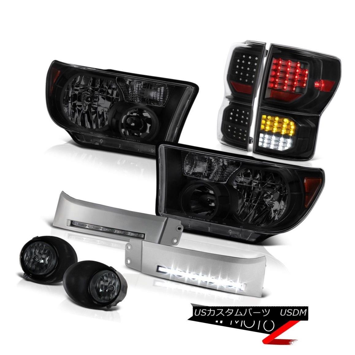 ヘッドライト 07-13 Toyota Tundra Platinum Taillights Headlamps DRL Strip Smoked Fog Lights 07-13トヨタトンドラプラチナティアライトヘッドランプDRLストリップスモークフォグライト