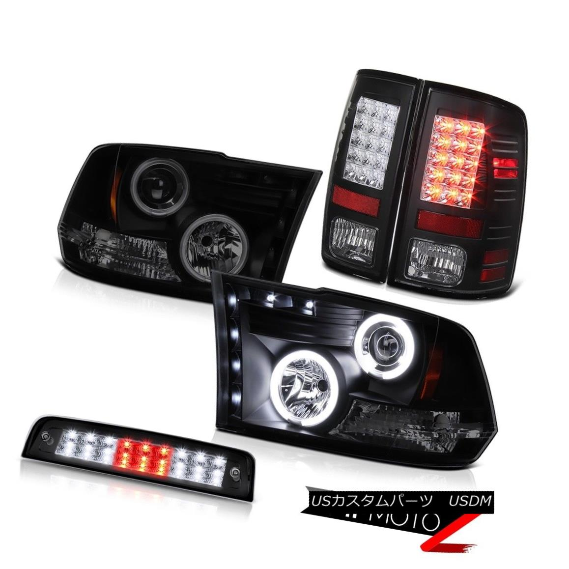 ヘッドライト 09-18 Ram 1500 3.0L Inky Black High Stop Light Tail Lamps Headlamps 2X CCFL Halo 09-18 Ram 1500 3.0L Inky Blackハイストップライトテールランプヘッドランプ2X CCFL Halo