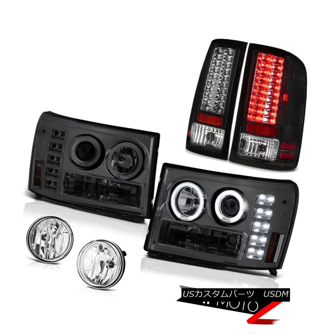 ヘッドライト Angel Eye CCFL Headlamp Black LED Tail Lamp 08-14 GMC Sierra 6.6L SLT Bumper Fog エンジェルアイCCFLヘッドランプブラックLEDテールランプ08-14 GMC Sierra 6.6L SLTバンパーフォグ