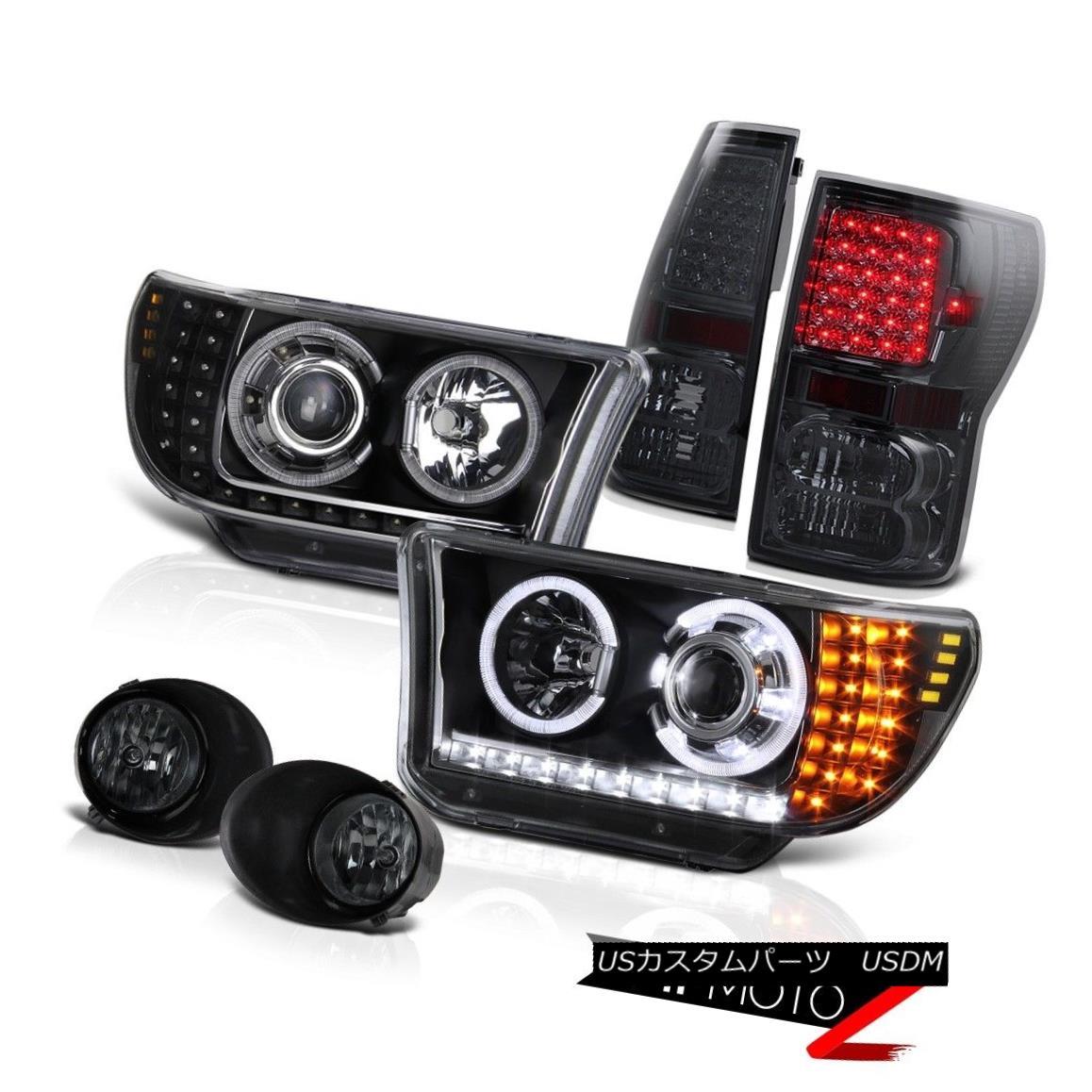 ヘッドライト 07-13 Tundra Black Halo Angel Eye Projector Led Headlamp+Led Tail Light+Fog Lamp 07-13トンドラブラックハローエンジェルアイプロジェクターLedヘッドランプ+ Ledテールライト+フォグランプ