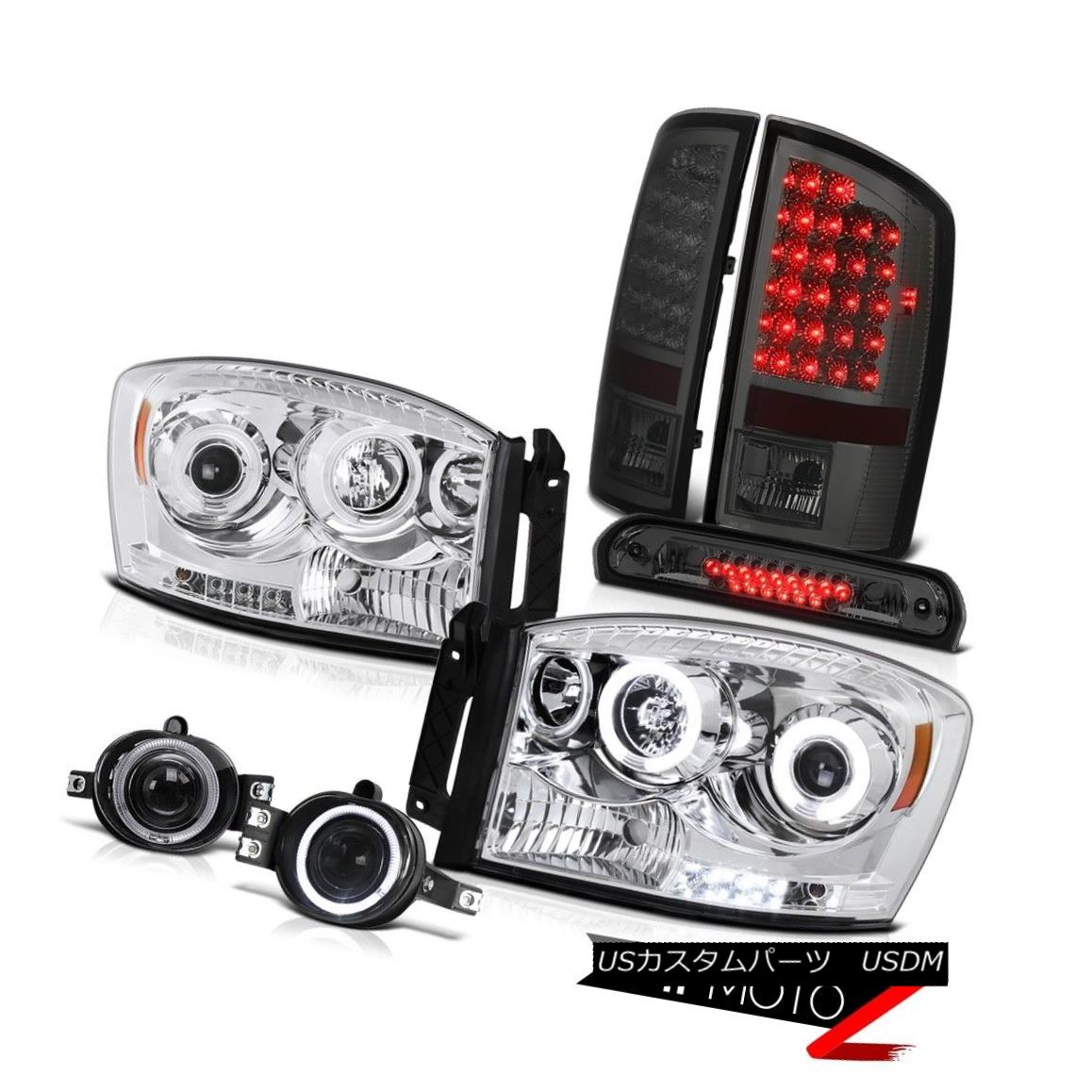 ヘッドライト 2007 2008 Ram Hemi CCFL Halo Headlights Dark LED Brake Light Euro Fog Tinted 3rd 2007年Ram Hemi CCFL HaloヘッドライトダークLEDブレーキライトEuro Fog Tinted 3rd