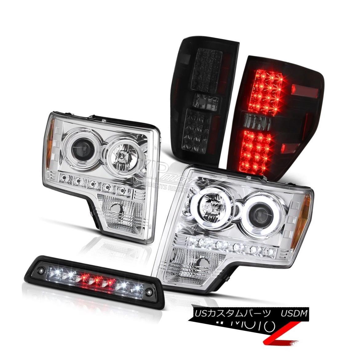 ヘッドライト 09-14 FORD F150 XL Dark smoke high stop light tail lights headlamps LED SMD Cool 09-14フォードF150 XLダークスモークハイストップライトテールライトヘッドランプLED SMD Cool