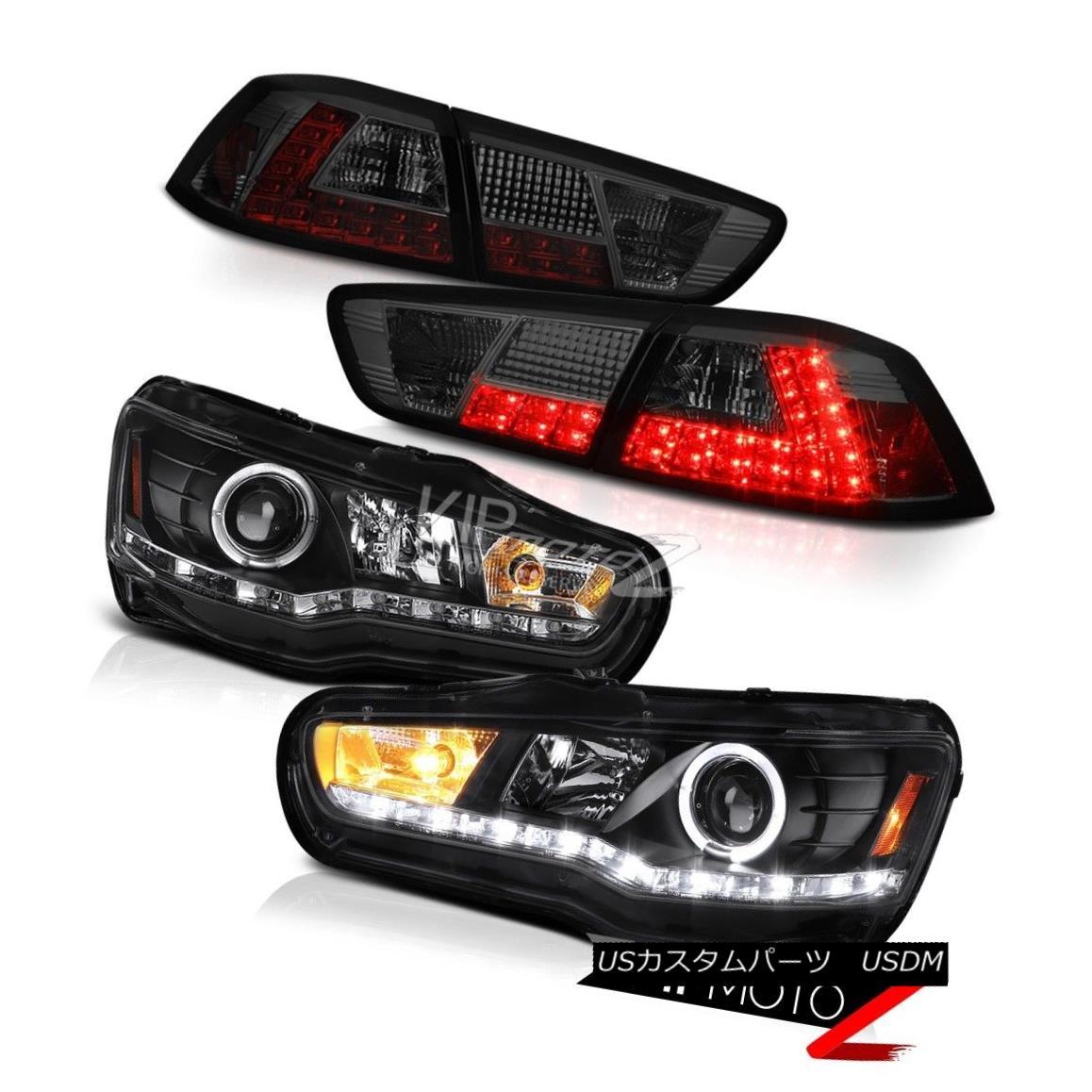 ヘッドライト 08-14 Lancer Evolution X Black [HID] Headlights Smoke