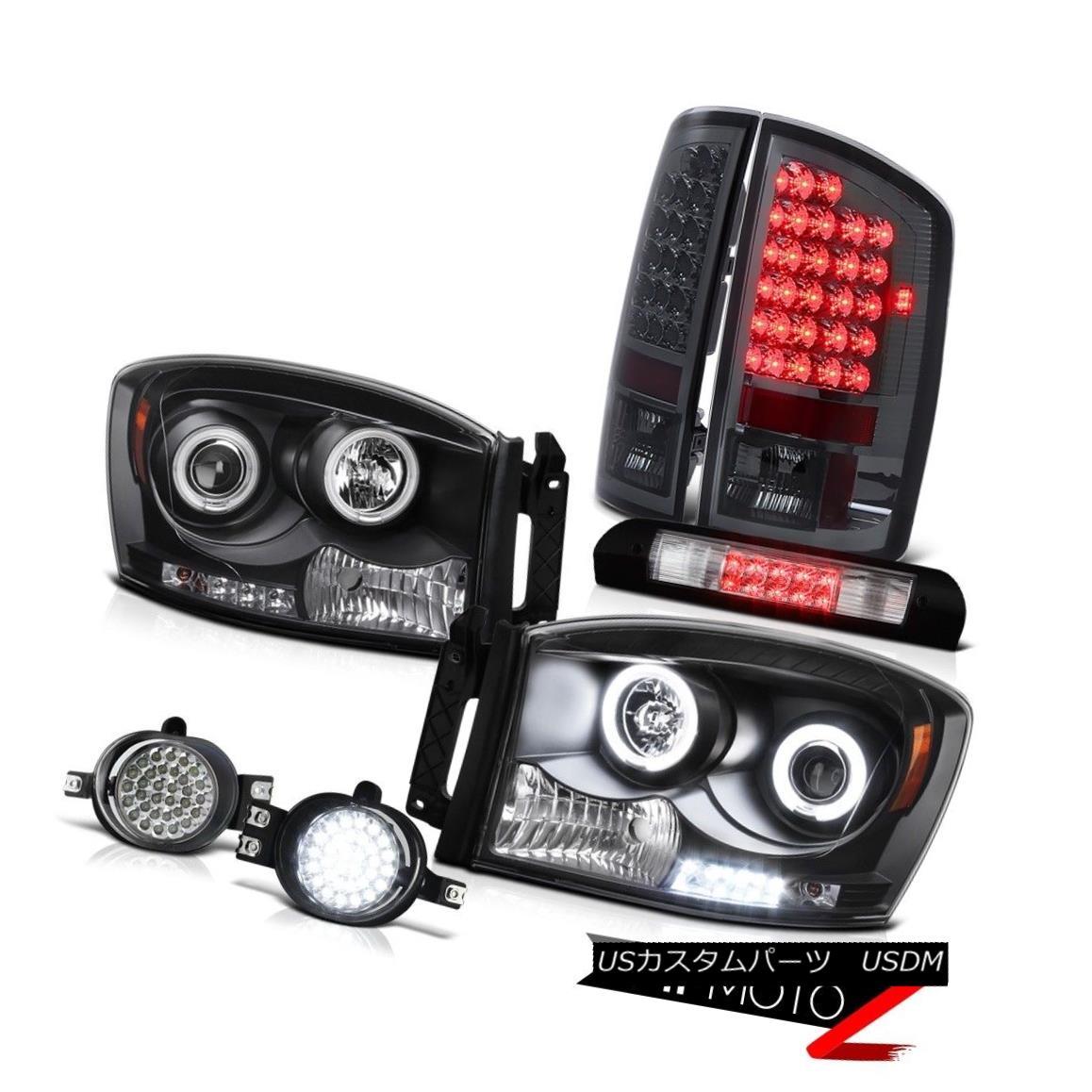ヘッドライト 07 08 Ram V6 2X Black CCFL Headlights Parking Tail Lights Wiring+LED Fog Chrome 07 08 Ram V6 2XブラックCCFLヘッドライトパーキングテールライト配線+ LEDフォグクローム