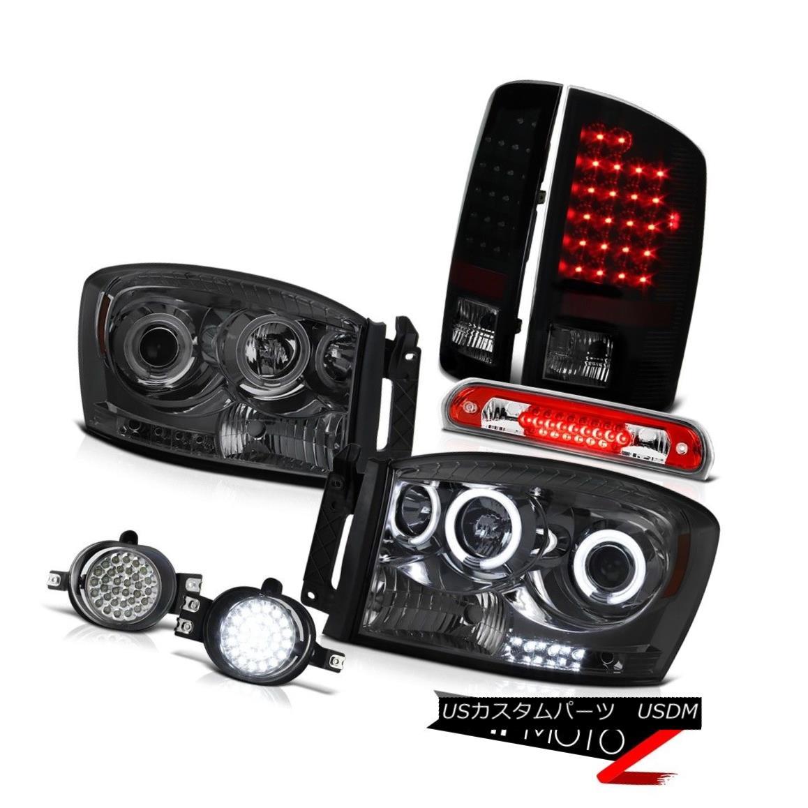 ヘッドライト Smoke Halo Headlamps LED Brake Lamps Daytime Running Fog Roof Red 2006 Dodge Ram スモークハローヘッドランプLEDブレーキランプデイタイムランニングフォグルーフレッド2006 Dodge Ram