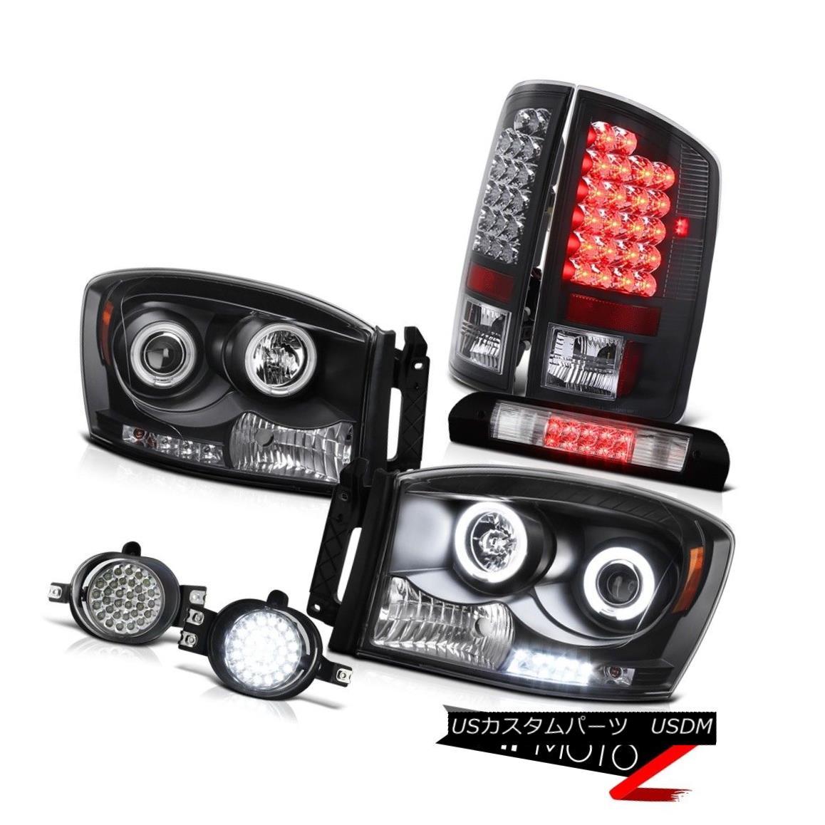ヘッドライト 07 08 Ram CCFL Halo Headlights Black Brake LED Tail Lights Foglights High Cargo 07 08 Ram CCFL HaloヘッドライトブラックブレーキLEDテールライトFoglights High Cargo