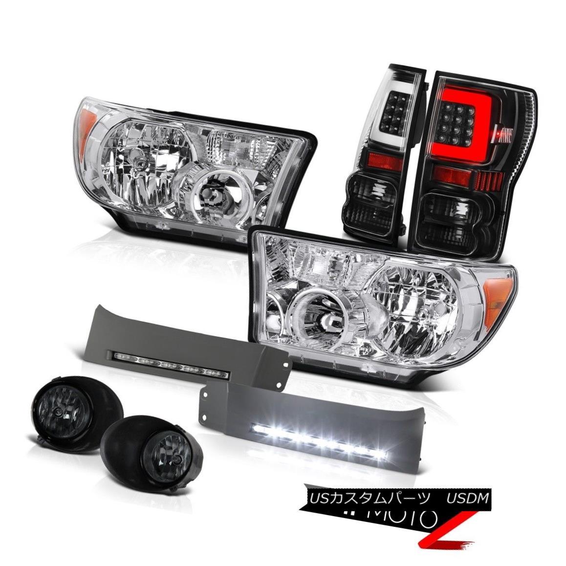 ヘッドライト 07-13 Toyota Tundra Nighthawk Black Rear Head Lights Drl Smoked Spot Set LH+RH 07-13トヨタ・トンドラ・ナイトホークブラック・リヤ・ヘッド・ライト・ディールスモーク・スポットセットLH + RH