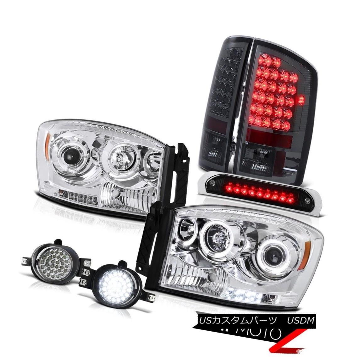 ヘッドライト 07 08 Dodge Ram LED Angel Eye Headlights L.E.D Tail Lights Foglamps Third Brake 07 08 Dodge Ram LEDエンジェルアイヘッドライトL.E.DテールライトFoglamps Third Brake