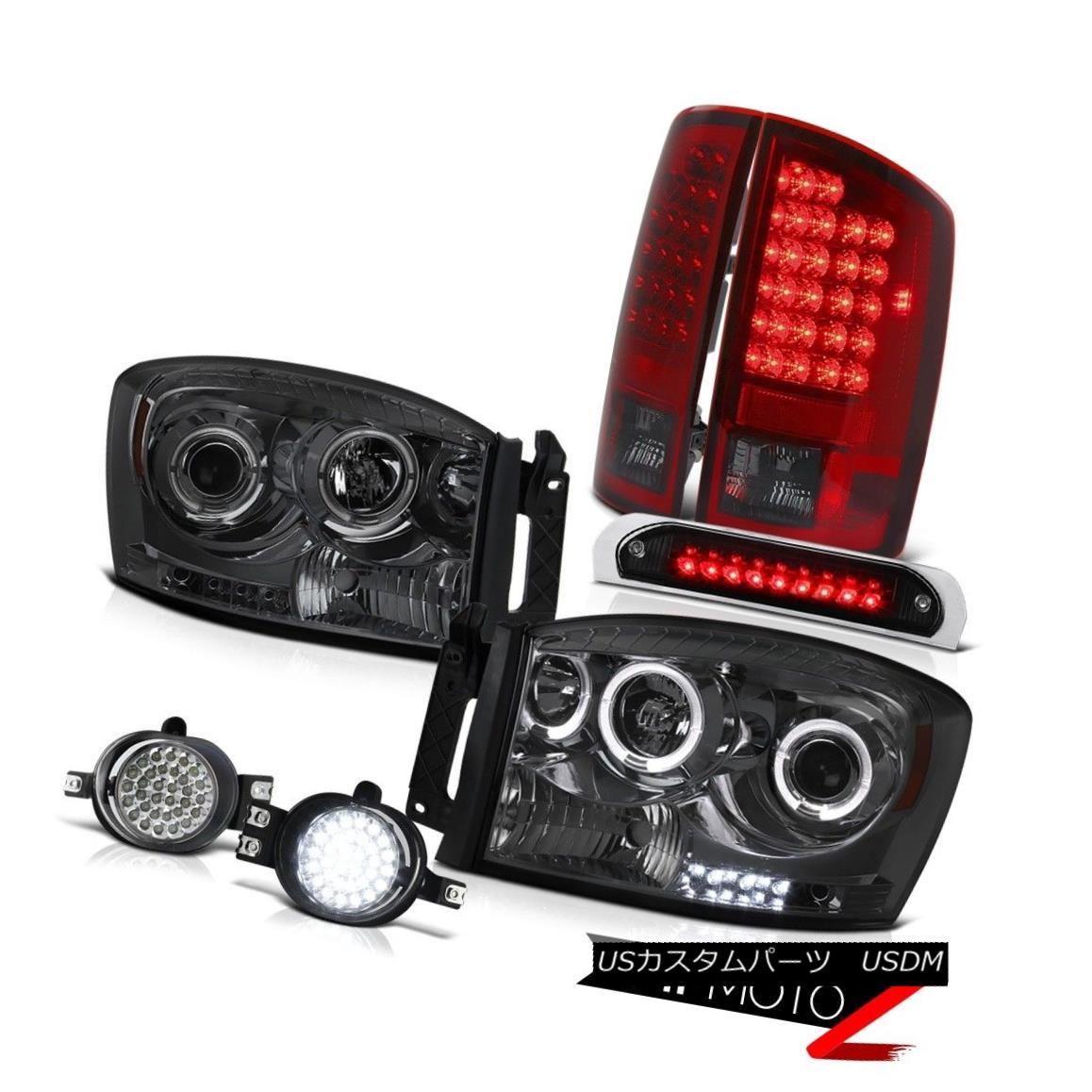 ヘッドライト 07 08 Ram Angel Eye Headlight SMD LED Brake Lamps Trim Foglights Roof Stop Black 07 08ラムエンジェルアイヘッドライトSMD LEDブレーキランプトリムフォグライトルーフストップブラック