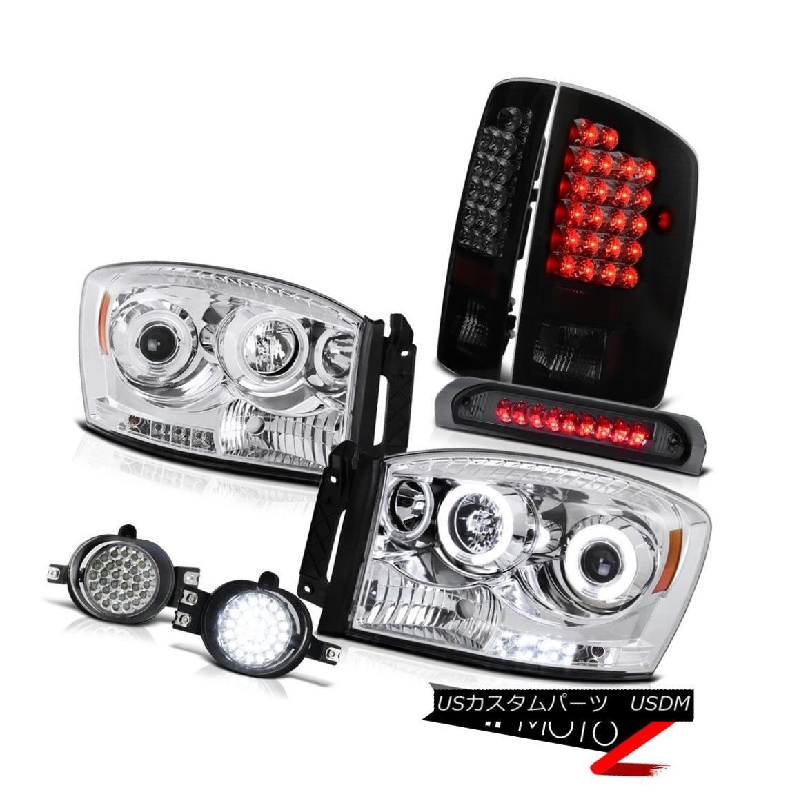 ヘッドライト Dodge Ram 1500 2500 3500 Smoke Black LED Tail Light Fog Lamp CCFL Headlight Lamp ダッジラム1500 2500 3500スモークブラックLEDテールライトフォグランプCCFLヘッドライトランプ