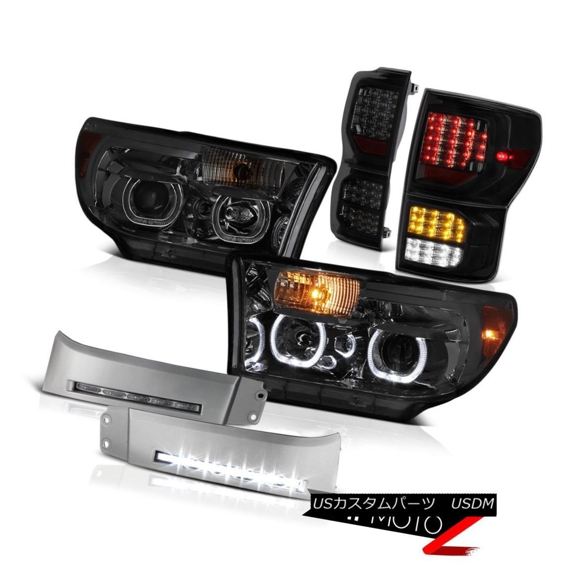 ヘッドライト 07-13 Toyota Tundra SR5 Tail Lights Phantom Smoke Headlights DRL Strip Dual Halo 07-13トヨタトンドラSR5テールライトファントムスモークヘッドライトDRLストリップデュアルヘイロー