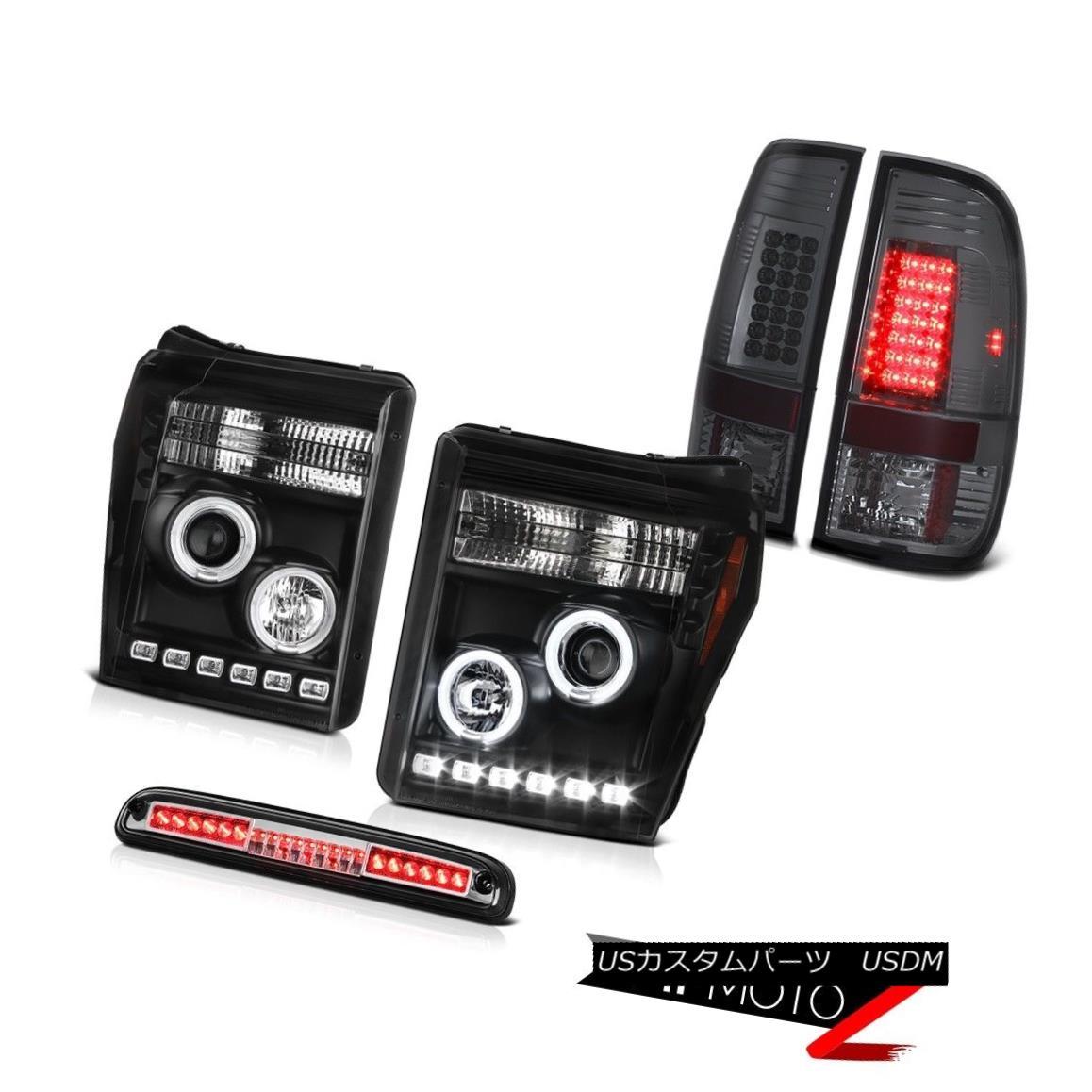 ヘッドライト 11-16 F250 6.2L High Stop Light Dark Smoke Tail Lamps Matte Black Headlights 11-16 F250 6.2Lハイストップライトダークスモークテールランプマットブラックヘッドライト