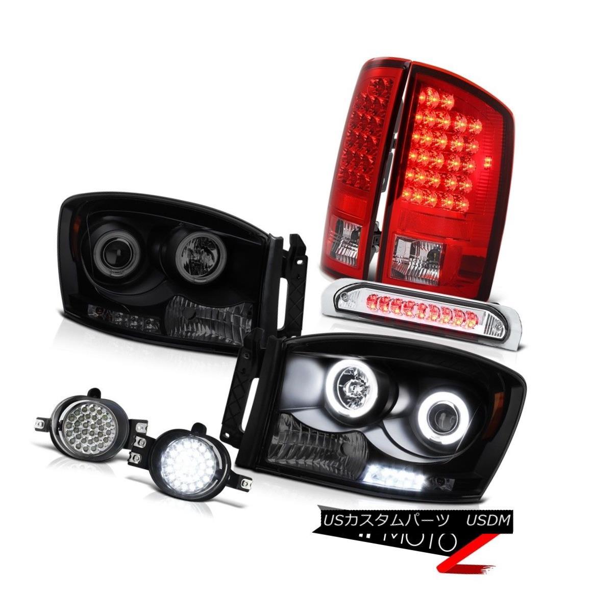 ヘッドライト 2006 Dodge Ram SLT CCFL Smoke Black Angel Eye Headlight Foglights 3RD Tail Light 2006ダッジラムSLT CCFLスモークブラックエンジェルアイヘッドライトフォグライト3RDテールライト