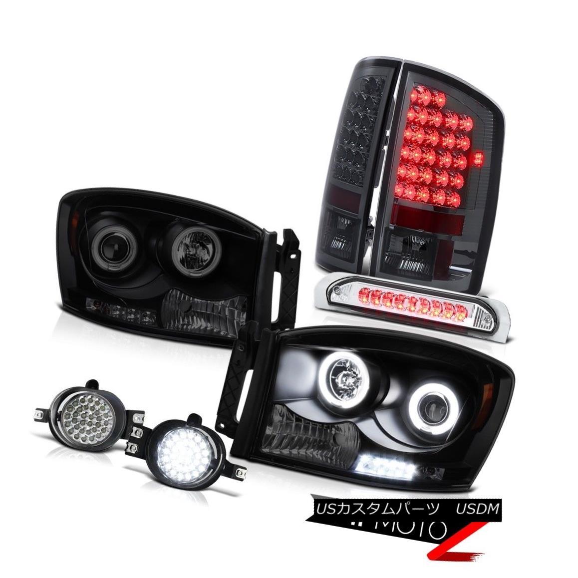 ヘッドライト 2006 Dodge Ram 4x4 Black CCFL Angel Eye Headlights LED D.R.L Fog Light Stop Lamp 2006年ダッジラム4x4ブラックCCFLエンジェルアイヘッドライトLED D.R.Lフォグライトストップランプ