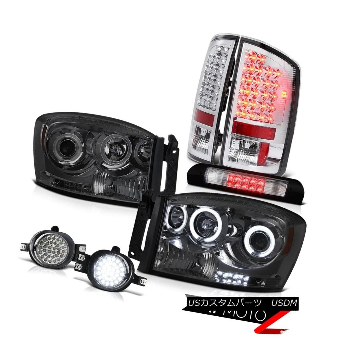 ヘッドライト 07 08 Ram Hemi CCFL Angel Eye Headlight Tail Light Wiring+LED Fog High Brake LED 07 08 Ram Hemi CCFLエンジェルアイヘッドライトテールライト配線+ LEDフォグハイブレーキLED