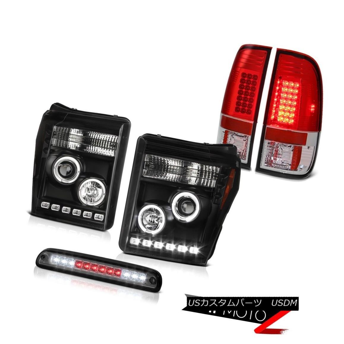 ヘッドライト 11-16 F350 6.7L Titanium Smoke 3RD Brake Lamp Tail Lamps Inky Black Headlights 11-16 F350 6.7Lチタン煙3RDブレーキランプテールランプインキーブラックヘッドライト
