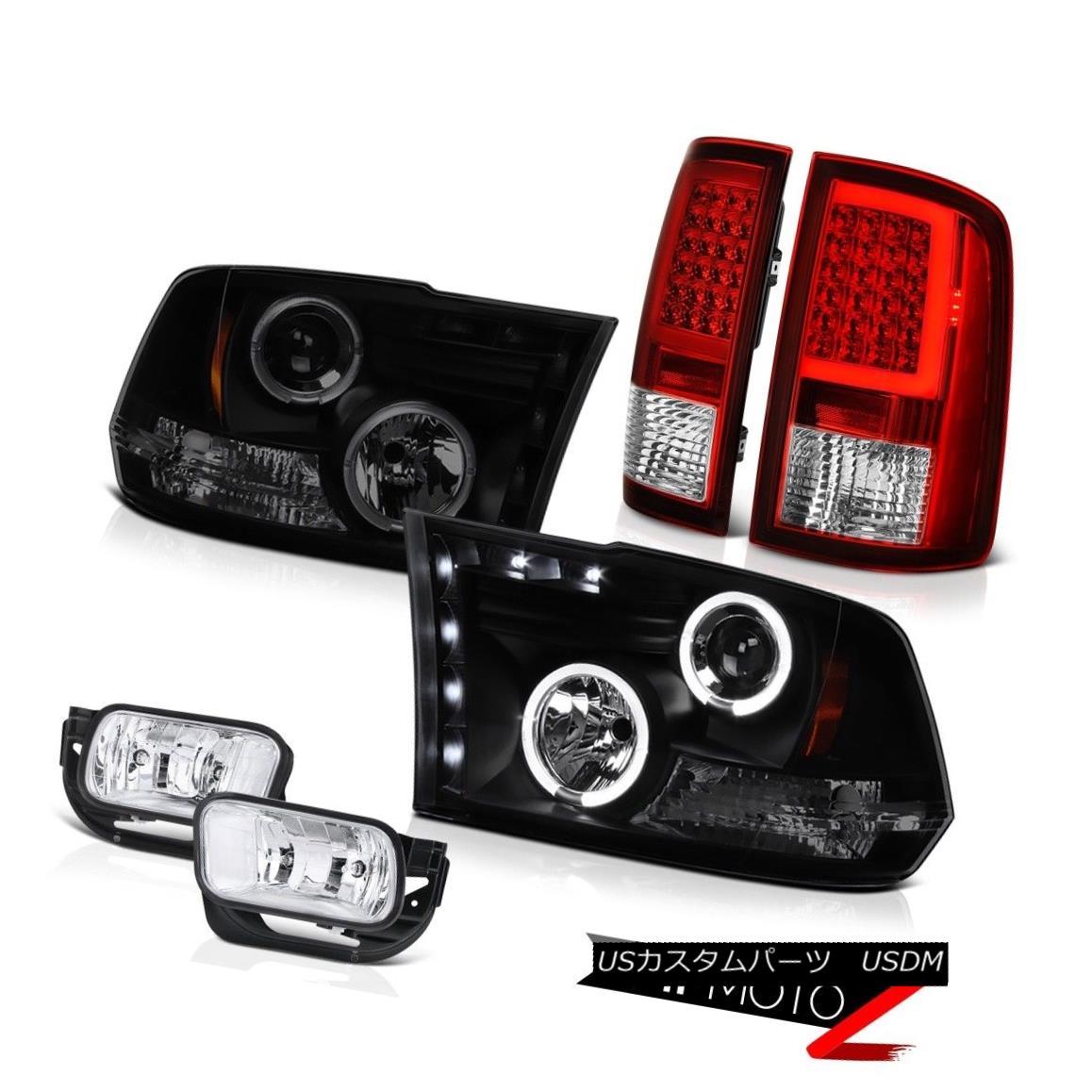ヘッドライト 09-13 Dodge RAM 1500 Wine Red Tail Lamp Euro Chrome Fog Light Headlamp SET PAIR 09-13ダッジRAM 1500ワインレッドテールランプユーロクロームフォグライトヘッドランプSET PAIR