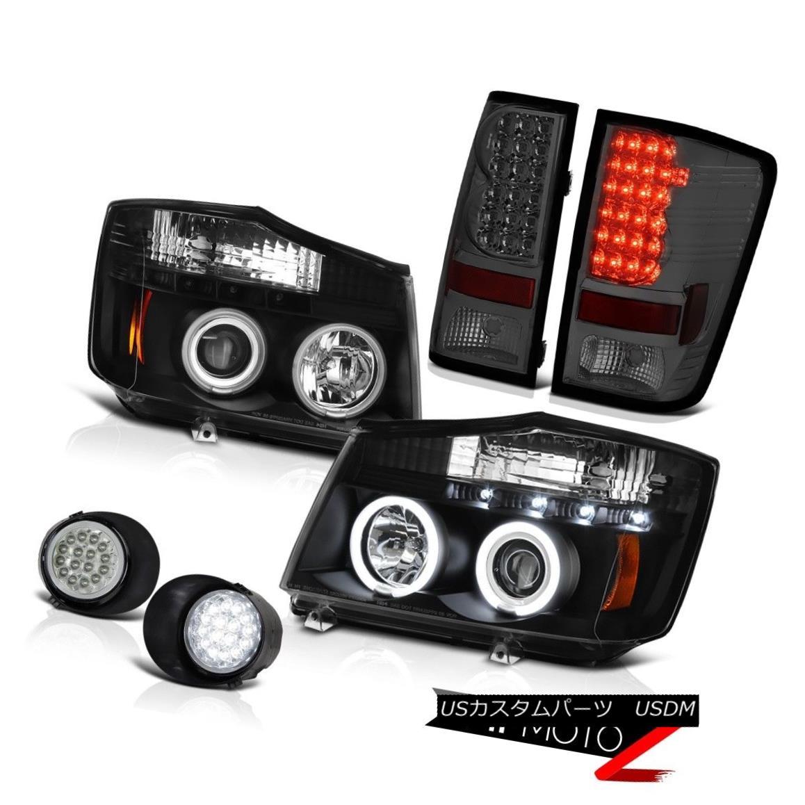 ヘッドライト For 2004-2015 Titan S Black Rim Headlights Signal Brake Tail Lights SMD LED Fog 2004年?2015年タイタンSブラックリムヘッドライト信号ブレーキテールライトSMD LEDフォグ