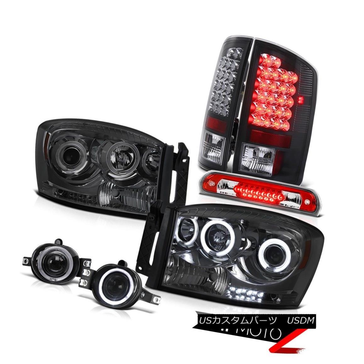 ヘッドライト Smoke CCFL Angel Eye Headlight LED Black Taillight Brake Cargo 2006 Dodge Ram WS 煙CCFLエンジェルアイヘッドライトLEDブラックティアライトブレーキカーゴ2006ドッジラムWS