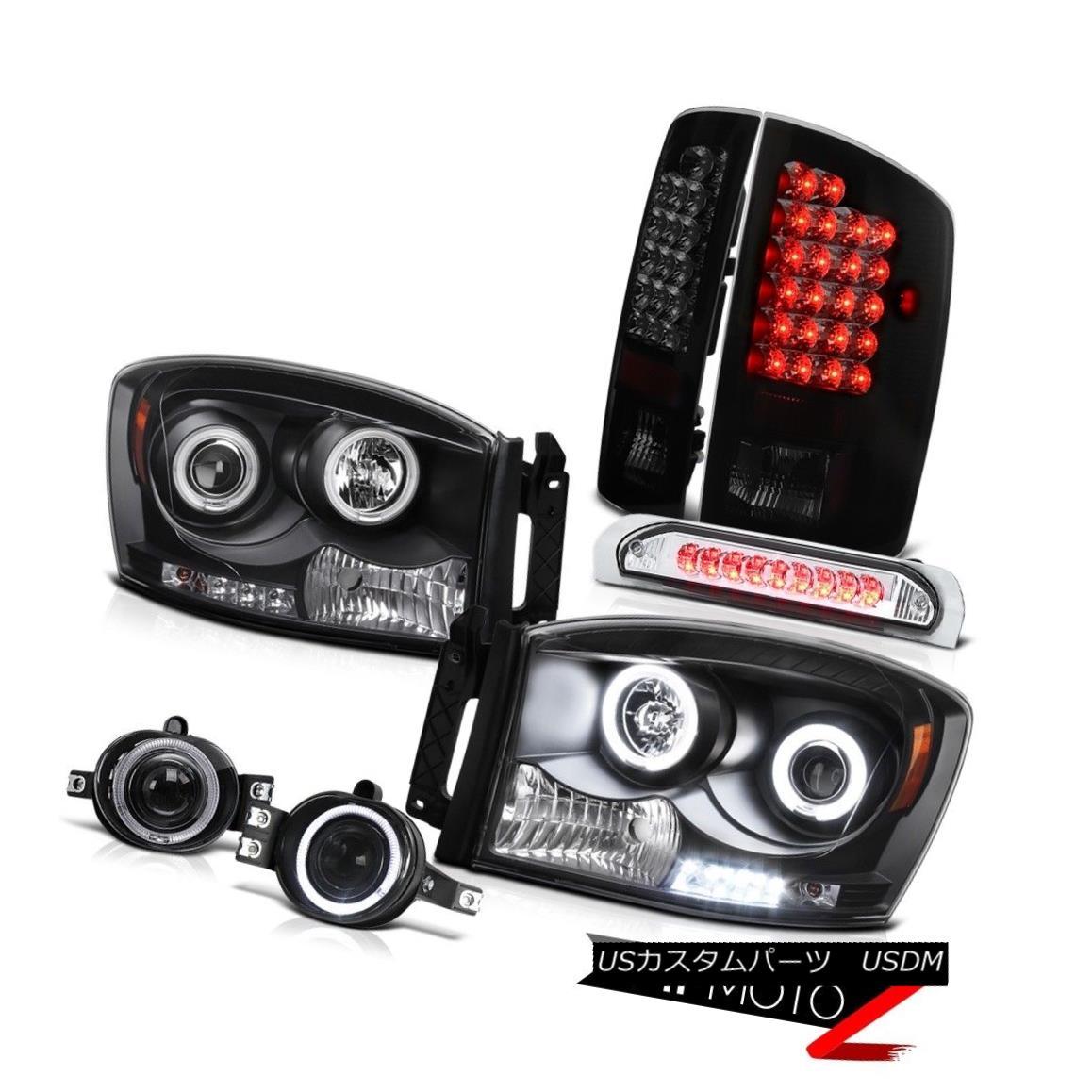 ヘッドライト {Matte} 07-09 Ram CCFL Angel Eye DRL Headlight LED Rear Lamp 3rd Brake Light Fog {マット} 07-09ラムCCFLエンジェルアイDRLヘッドライトLEDリアライト第3ブレーキライトフォグ