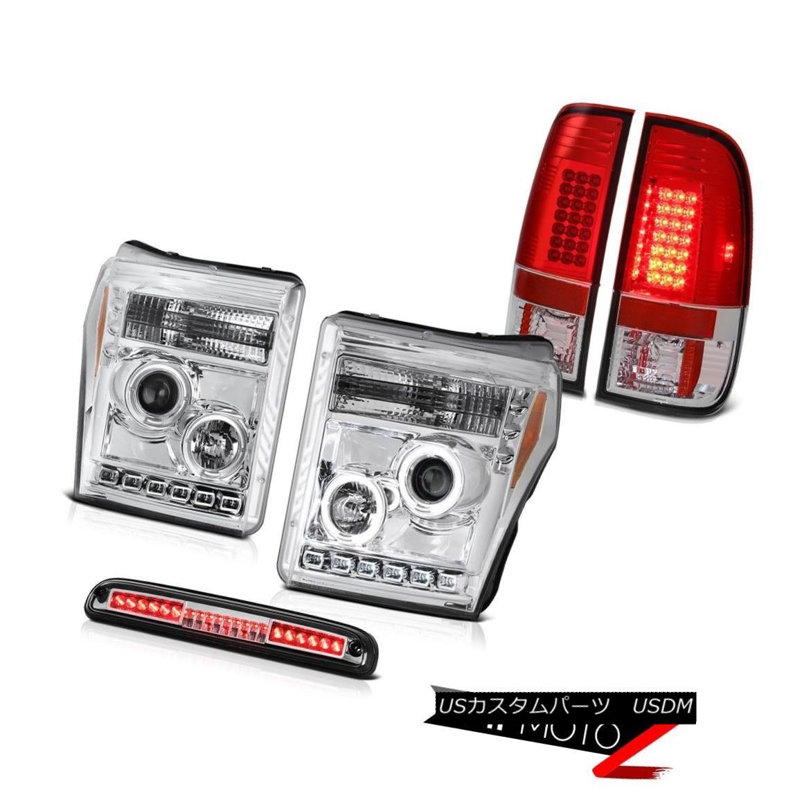 ヘッドライト 11-16 F250 Lariat Sterling Chrome High Stop Light Rosso Red Taillights Headlamps 11-16 F250ラリアットスターリングクロームハイストップライトロッソレッドティアライトヘッドランプ