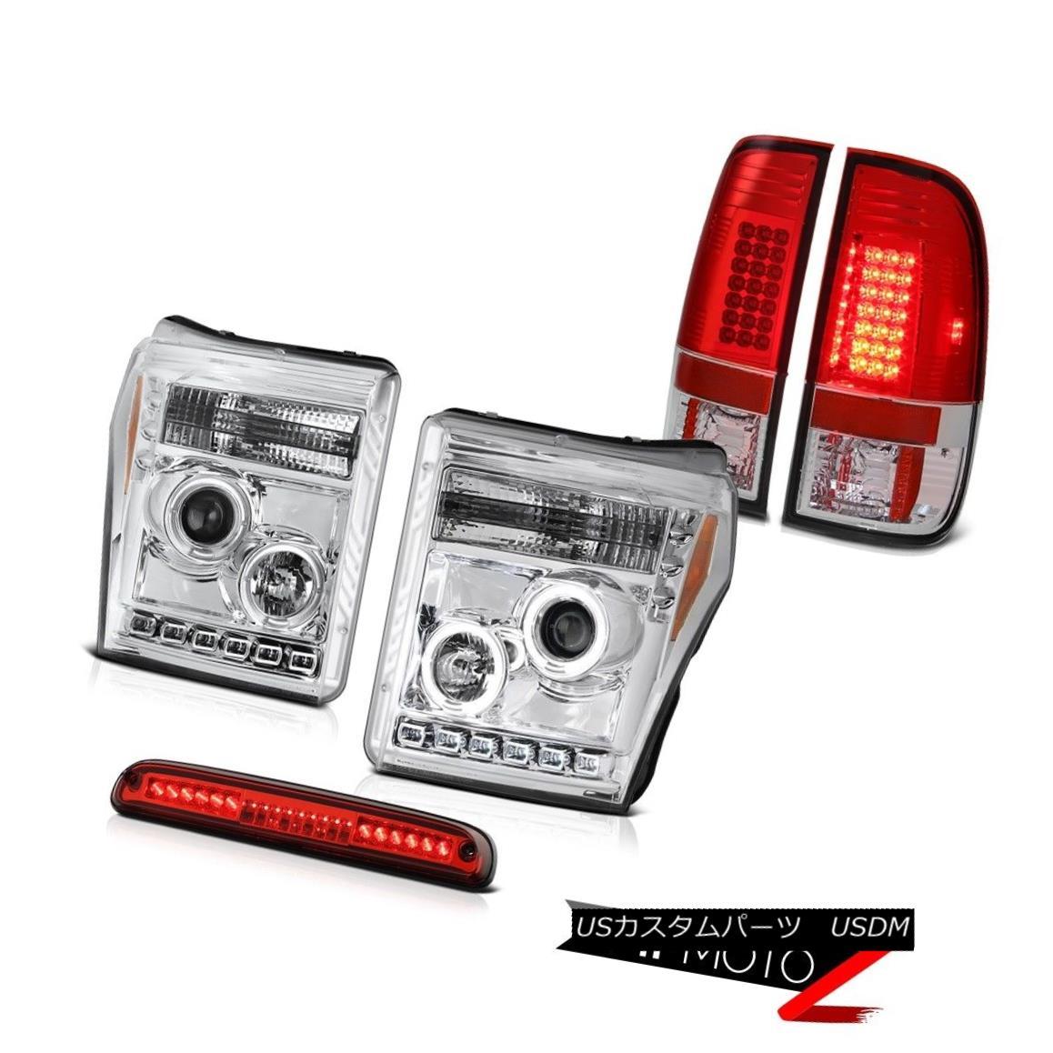 ヘッドライト 11-16 F350 Lariat Third Brake Light Taillamps Clear Chrome Headlights Dual Halo 11-16 F350 Lariat第3ブレーキライトタイルランプクリアクロームヘッドライトデュアルヘイロー