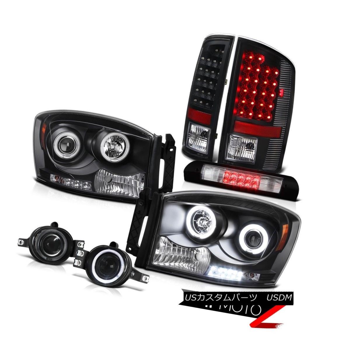 ヘッドライト 07 08 Ram SLT DRL CCFL Ring Headlights LED Black Taillamps Driving Fog 3RD Cargo 07 08ラムSLT DRL CCFLリングヘッドライトLEDブラックタイヤランプドライビングフォグ3RDカーゴ