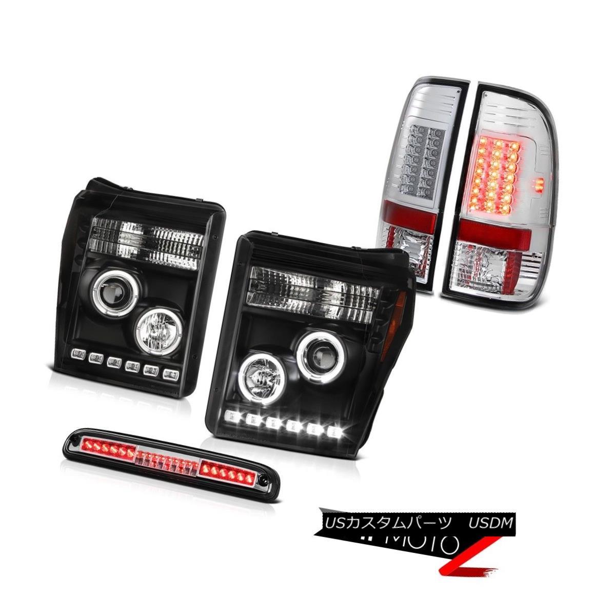 ヘッドライト 11-16 F350 Xlt Euro Chrome 3RD Brake Light Tail Lights Black Headlights LED SMD 11-16 F350 Xltユーロクローム3RDブレーキライトテールライトブラックヘッドライトLED SMD