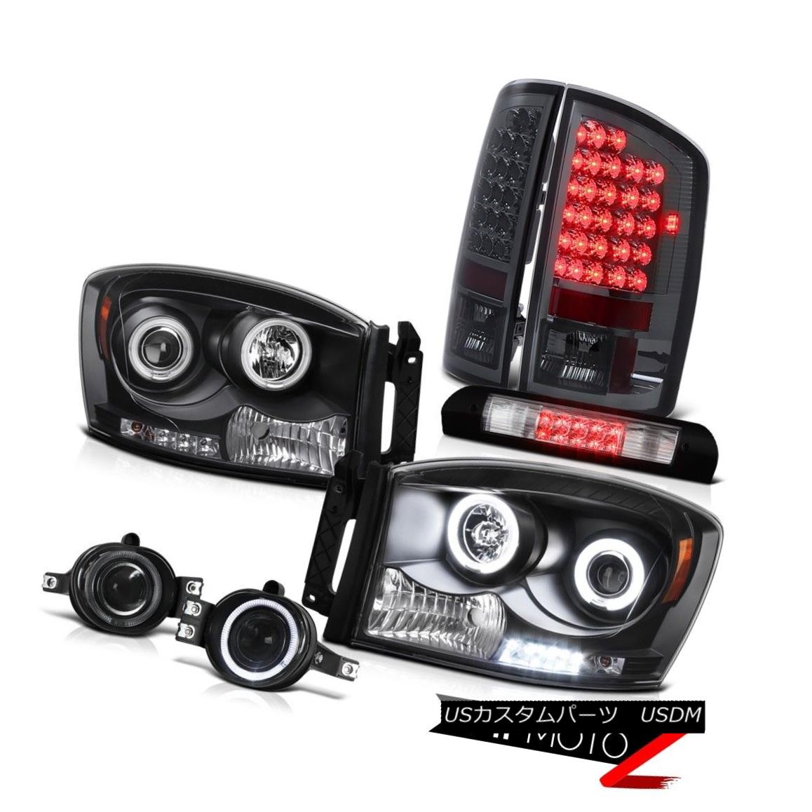 ヘッドライト 07-08 Ram 1500 Black CCFL Headlights LED Taillamp Glass Fog High Stop LED Chrome 07-08ラム1500ブラックCCFLヘッドライトLEDタイルランプガラスフォッグハイストップLEDクローム