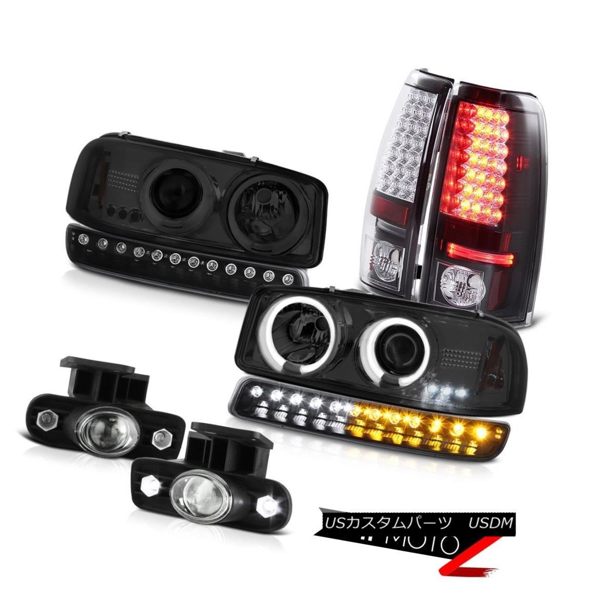 ヘッドライト 99-02 Sierra SLE Chrome foglights black smd taillamps bumper lamp ccfl headlamps 99-02シエラSLEクロームフォグライトブラックとテールライトバンパーランプccflヘッドライト