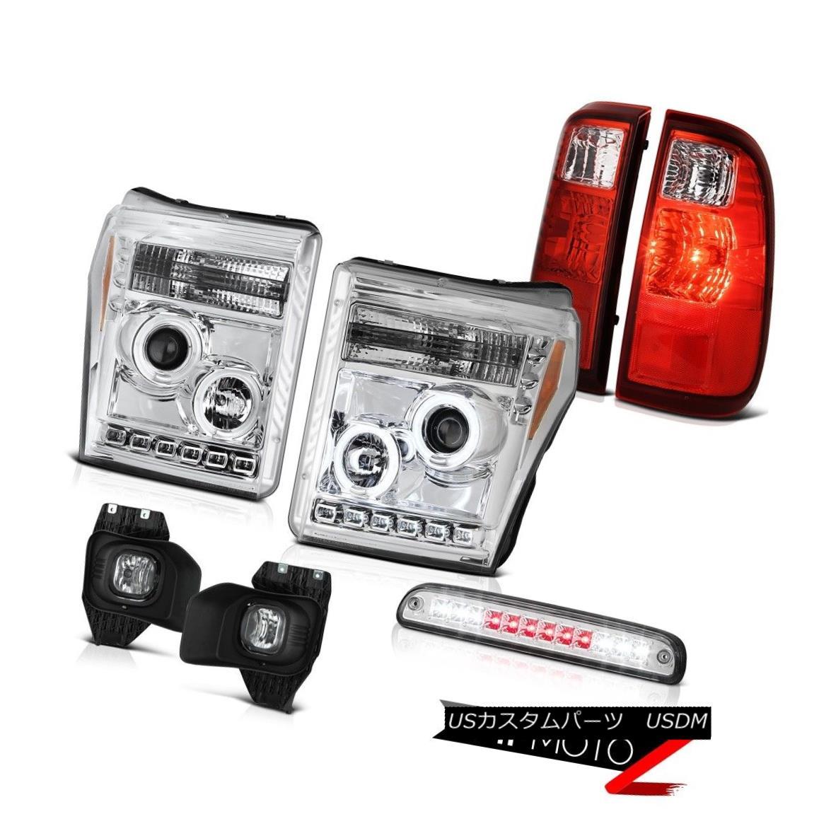 ヘッドライト 11-16 F250 Xl Chrome 3RD Brake Light Fog Lamps Rosso Red Tail Headlights Cool 11-16 F250 Xlクローム3RDブレーキライトフォグランプロッソレッドテールヘッドライト